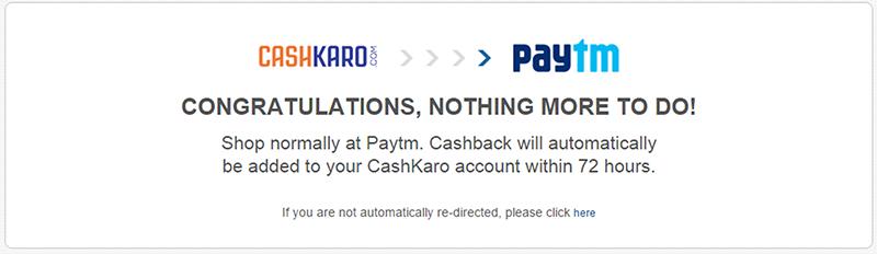 Cashkaro to Paytm