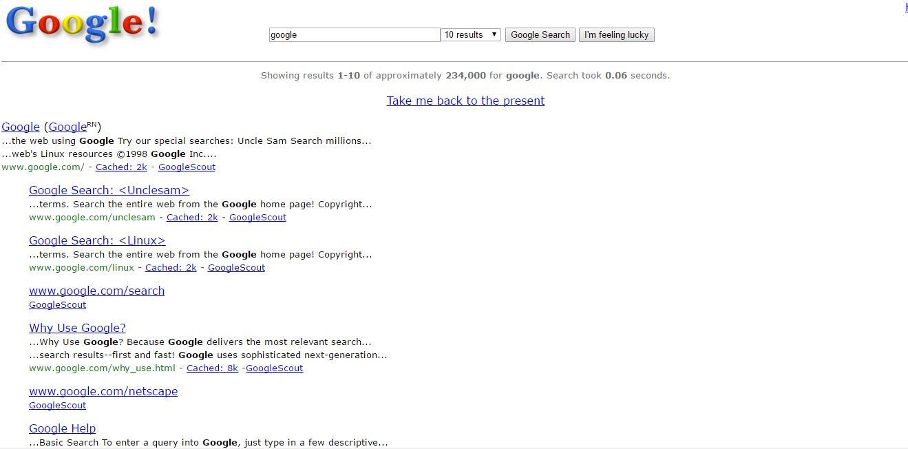 Google in 1998 - Google Tricks