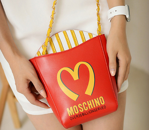 food shaped handbag french fries moschino