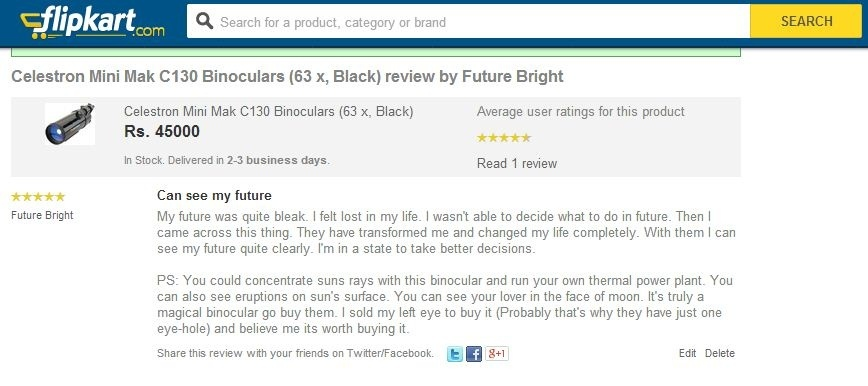 Funny Online Shopping Reviews for Binoculars