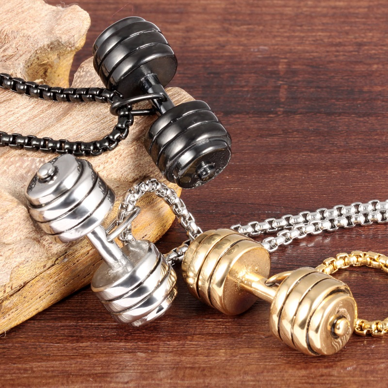 Men-s-Fashion-Popular-Jewelry-Silver-Gold-Black-Stainless-Steel-Dumbbell-Pendant-Necklace-Cool-Man-Charm