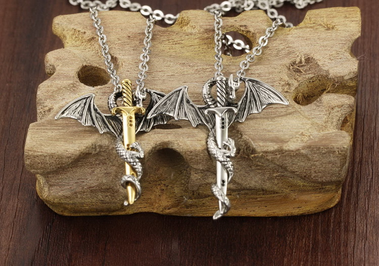 Personality-Cool-Stainless-Steel-Long-Pendant-Necklace-Pterosaur-Sword-Jewelry-Men-Necklace-Dragon-Punk-Necklace-2015