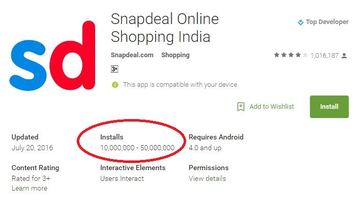 Snapdeal Ratings