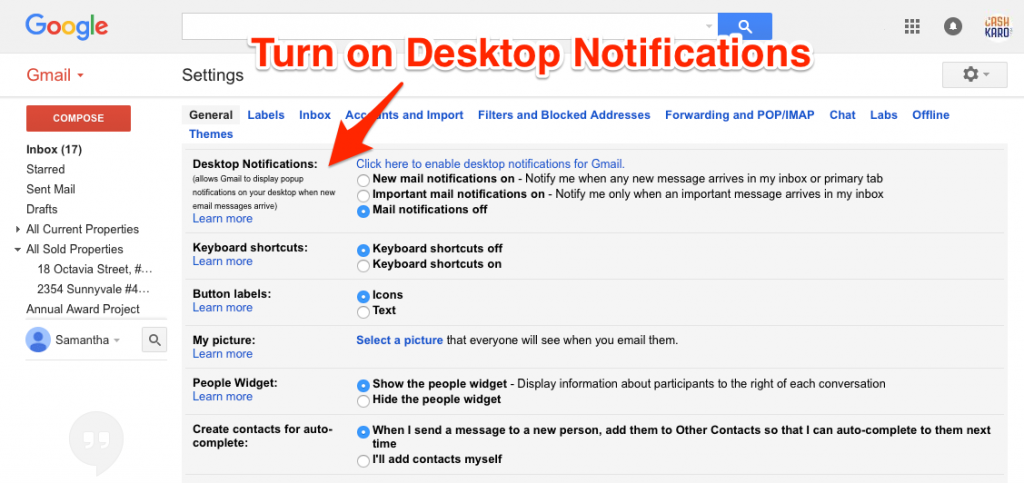 Desktop Notifications Gmail