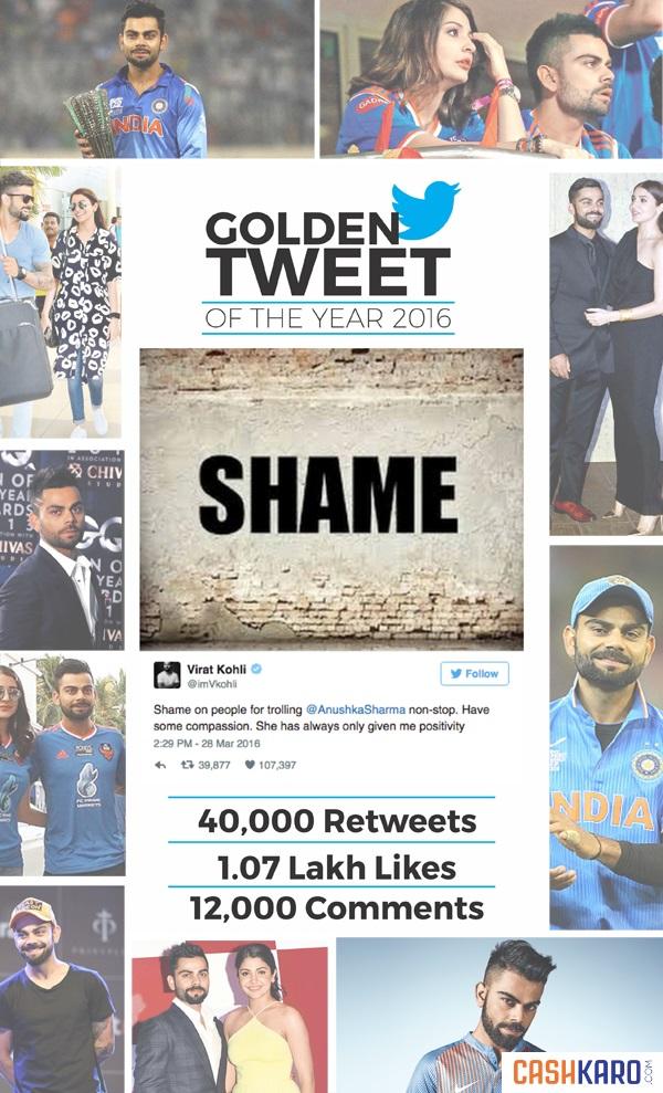 Virat Anushka - Golden Tweet 2016