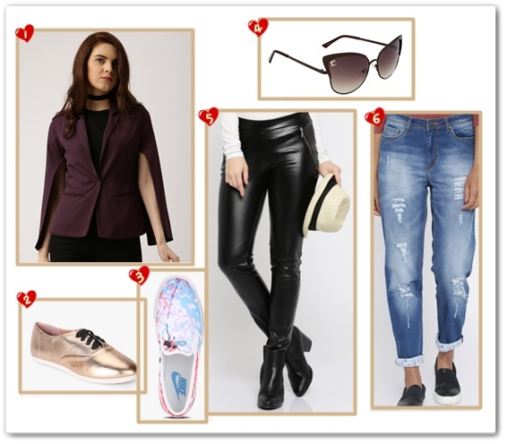 Shop Now - 1. All About You from Deepika Padukone Purple Jacket, Rs 1,249 on Myntra.com. 2. Ginger By Lifestyle Copper Metallic Oxford Lifestyle Shoes, Rs 999 on Jabong.com. 3. Nike Toki Slip Cherry Bls Blue Sporty Sneakers, Rs 2,033 on Jabong.com. 4. Clark N Palmer Women Gradient Cat Eye Sunglasses, Rs 899 on Myntra.com. 5. All About You from Deepika Padukone Women Black Leather-Look Trousers, Rs 1,539 on Myntra.com. 6. All About You from Deepika Padukone Women Blue Boyfriend Fit Highly Distressed Jeans, Rs. 1,249 on Myntra.com.