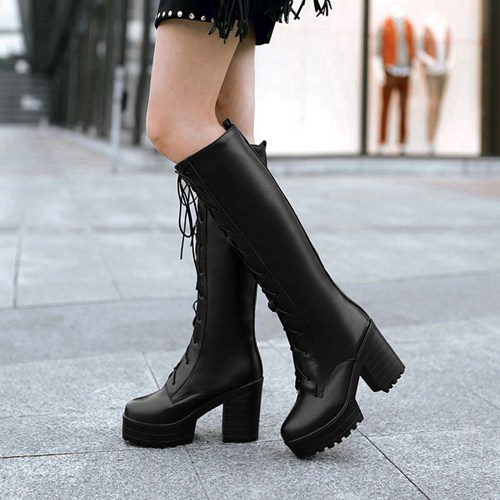 thick-square-heel-heel-new-women-knee-boots-winter-fur-round-front-lace-up-platform-women-shoes-60WJ