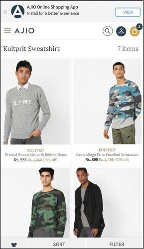 Ajio Sweatshirts