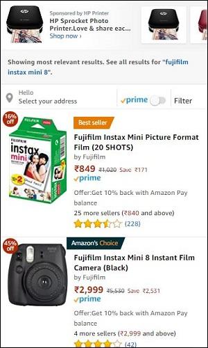 Amazon Fujifilm Instax Mini 8