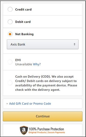 Amazon Payment Page