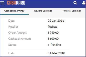 Darjeeling Tea Cashback confirmation