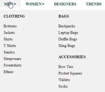 Select Men T-shirt from menu