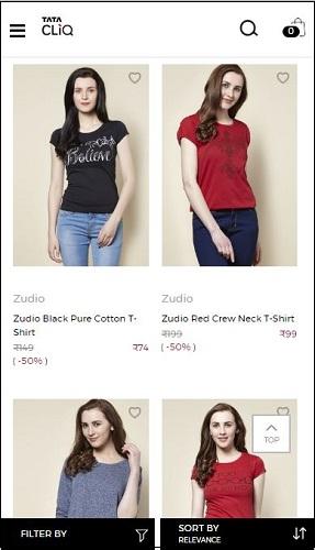 Tata CLiQ Zudio T-Shirts