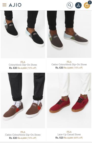 add Fila shoe to cart