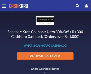 CashKaro Shoppers Stop