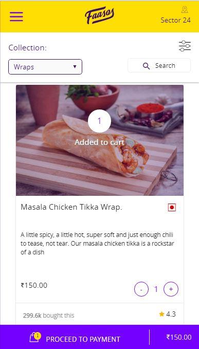 Faasos Chicken Wrap