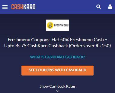 Freshmenu CashKaro