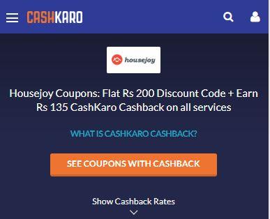 Housejoy CashKaro