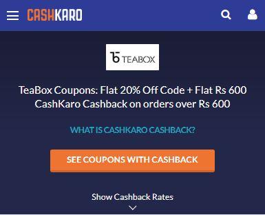 Teabox CashKaro