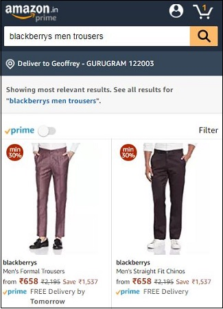 Amazon Blackberrys Trousers
