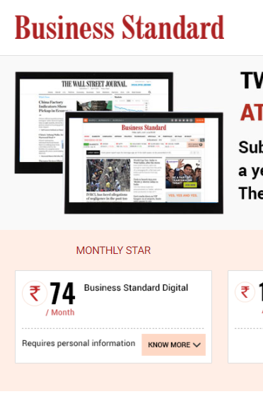 free business standard subscription - site