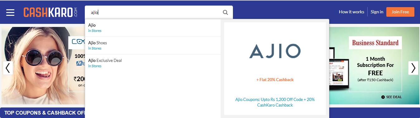 Ajio_Search_CashKaro