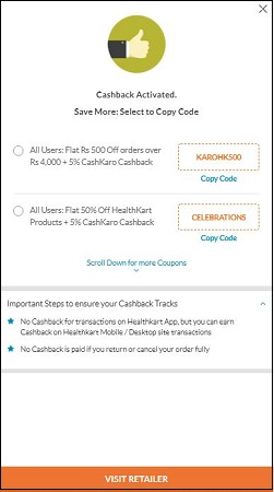 HealthKart Cashback