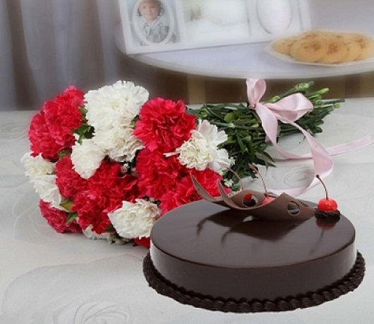 Carnations and Cake For A Special Surprise