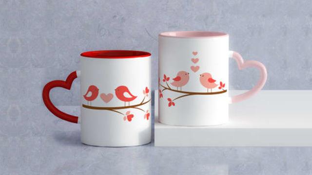 Love Birds Personalized Heart Handle Mug Set