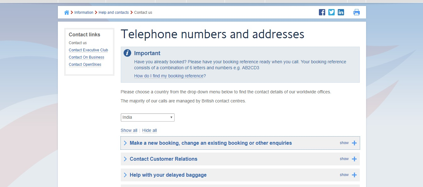 British Airways Contact