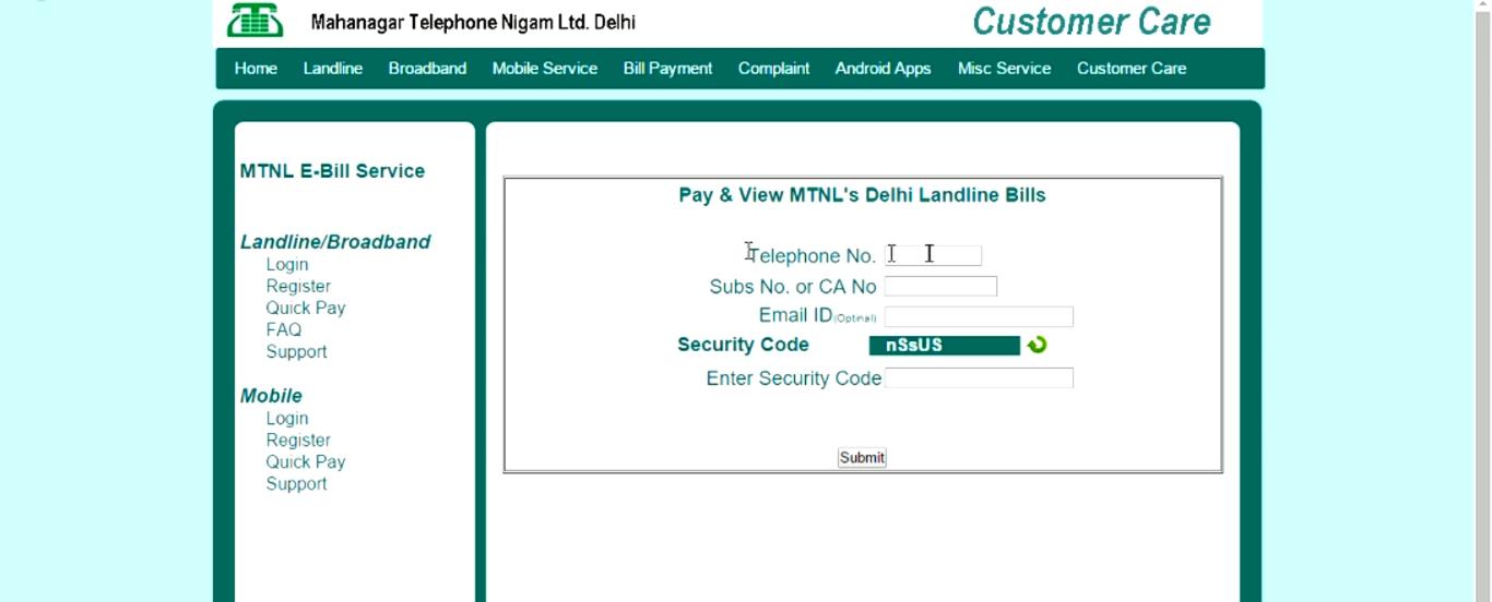 MTNL website