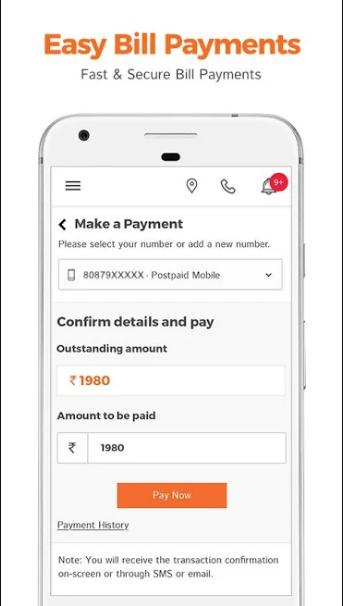 TATA Docomo Fixed Line Bill on My TATA Docomo App
