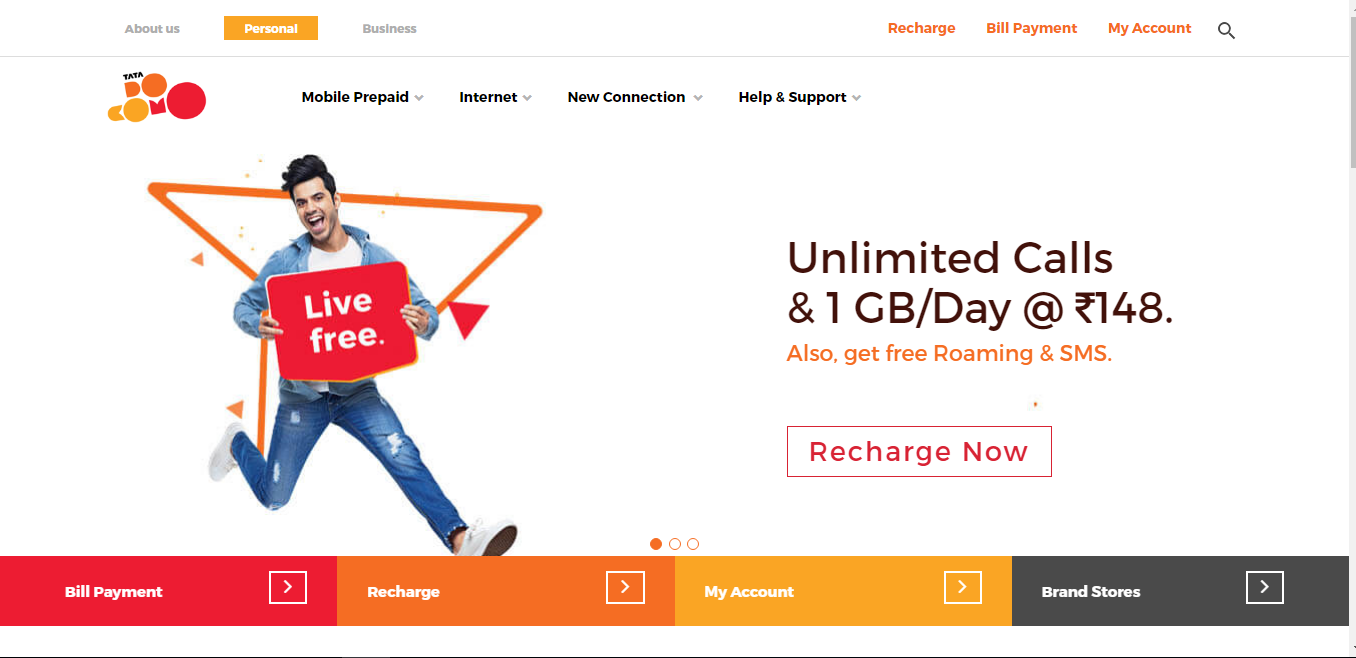 TATA Docomo Fixed Line Bill on Official Website