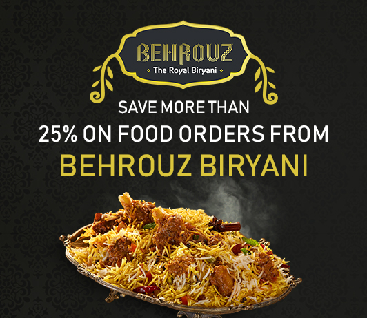 SAVE MORE THAN 25% ON FOOD ORDERS FROM BEHROUZ BIRYANI