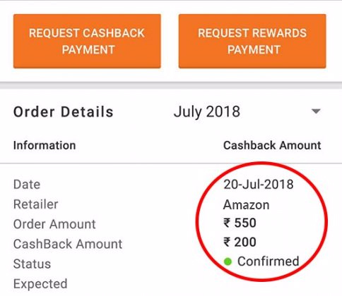 "Your Rewards will reflect in your CashKaro Account under ""My Earnings"" section."