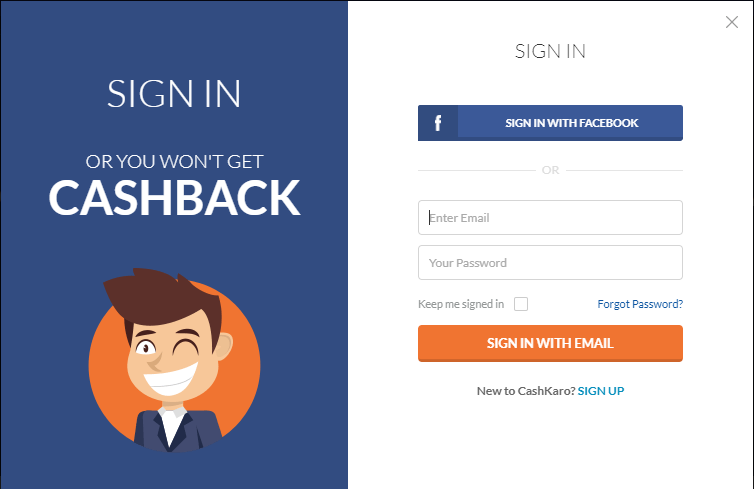 Sign in (Existing User) | Sign Up for free (New User)