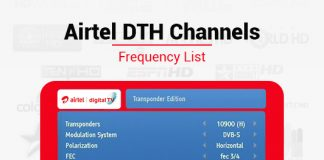 Airtel DTH Frequency 2019: List of Airtel Digital TV Channel Signal Frequency