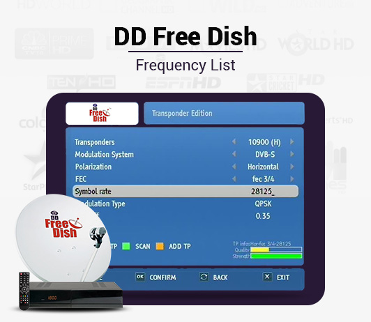 DD Free Dish Frequency 2019: List of DD Free Dish Channel Signal Frequency