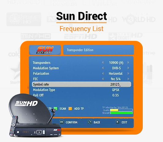 Sun Direct Frequency 2019: List of Sun Direct DTH Channel Signal Frequency