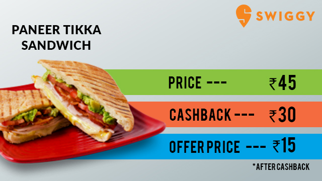 Swiggy- Paneer Tikka Sandwich Deal