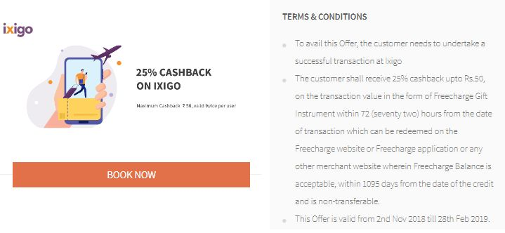 Freecharge Ixigo Offer