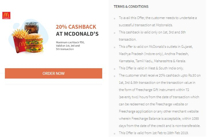 Freecharge McDonalds Offer