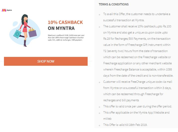 Freecharge Myntra Offer