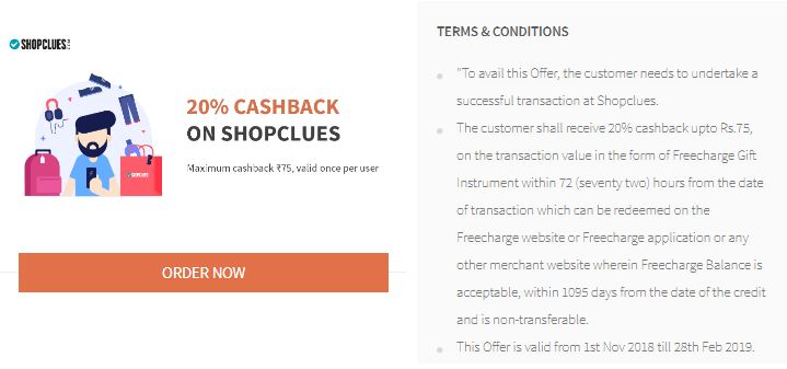 Freecharge Shopclues Offer