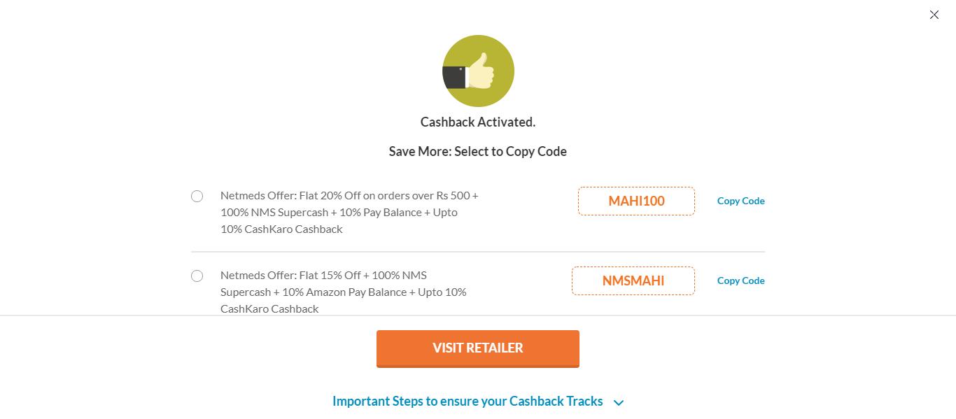 Select The 'Visit Retailer' Button
