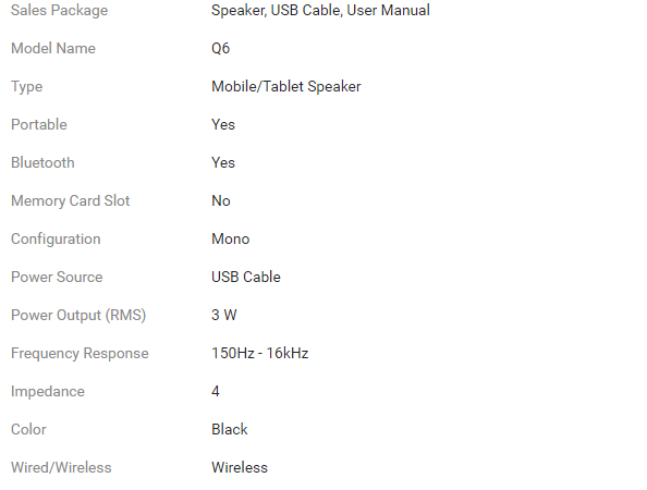 3W Bluetooth Speaker specification