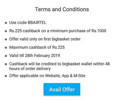 Airtel Bigbasket Offer