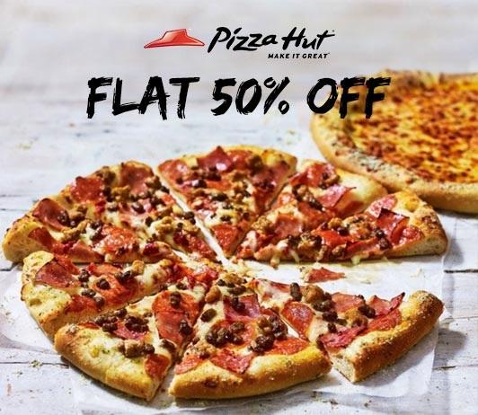 Pizza Hut Flat 50% OFF