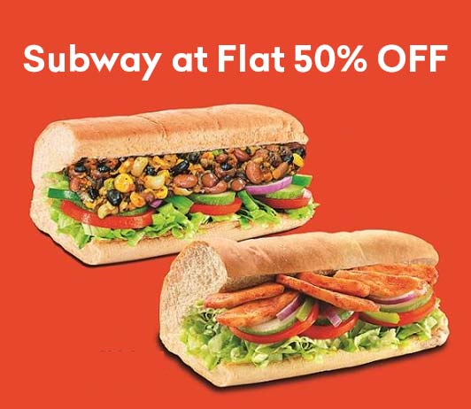 Subway Offer Flat 50 Percent Off