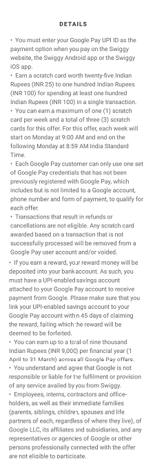 Swiggy Google Pay Terms and Conditions